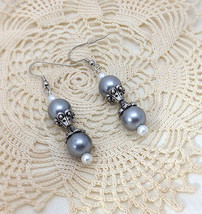 Beautiful Handcrafted Gray & Silver Tone Drop &... - $19.78