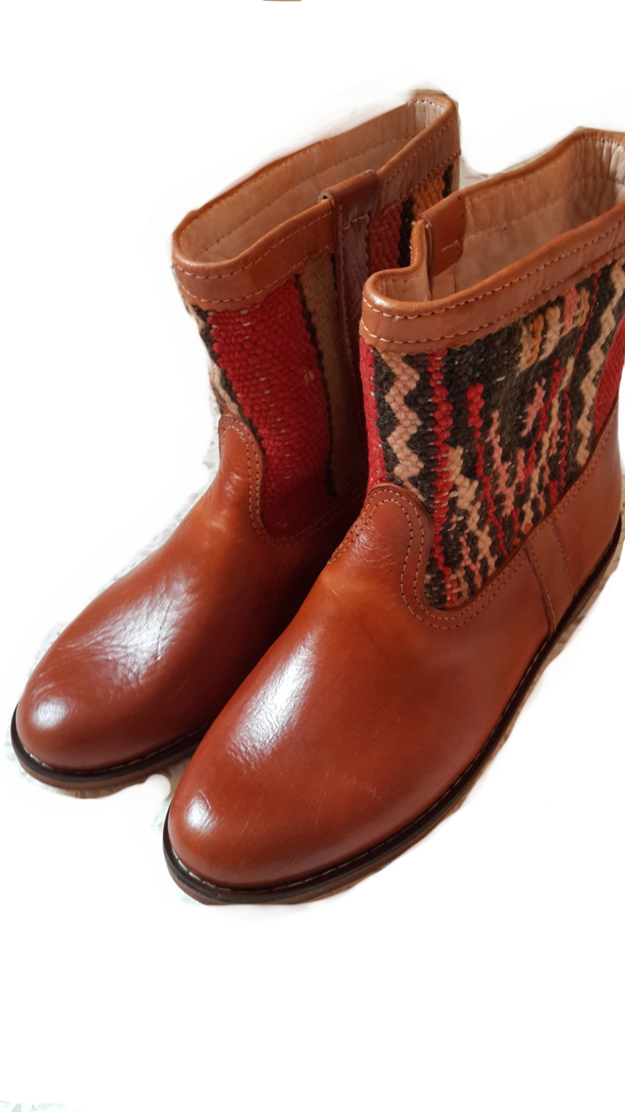 Moroccan leather Boots with Killim