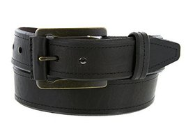 Made in USA Mens Genuine American Bison Black Oil-Tanned Thick Leather Casual... - $79.19