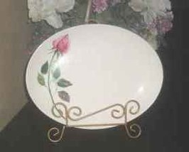 "Vintage Homer Laughlin ""Rhythm"" rose oval platter rosebud - $3.00"