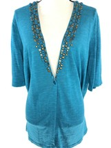 JONES NEW YORK Turquoise Short Sleeve One Button Blouse Navajo Accents W... - $23.34