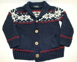 Life And Legend Boys Button Up Navy Blue Snowflake Cardigan Sweater Size... - $14.85