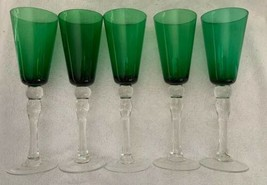 Green Cup Clear Long Thick Ball Stem Wine Glasses (5) Champagne Flutes 9... - $39.59