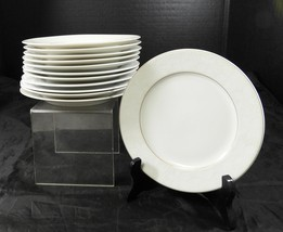 Eleven Rosenthal Bread & Butter Plates * White Velvet Pattern Gold Trim - $35.62