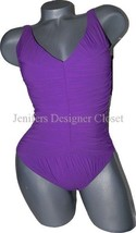 NWT GOTTEX designer swimsuit $299 10 shirred 2-way slimming ruched drape... - $106.69