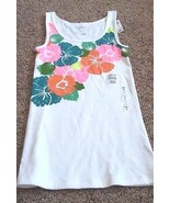 Old Navy perfect tank top ribbed flower bright graphic stretch white wom... - $13.99