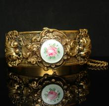 Victorian Bracelet GORGEOUS Guilloche enamel LAYERED hinged bracelet orn... - $295.00