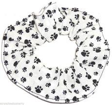 Paw Prints Black on White Fabric Hair Scrunchie Scrunchies by Sherry Pon... - $6.99