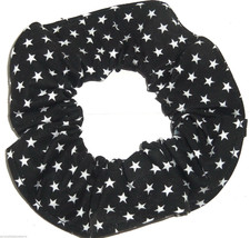 Black  with White Stars Fabric Hair Scrunchie Scrunchies by Sherry Ponytail - $6.99