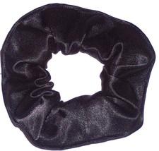 Black Satin Hair Scrunchie Scrunchies by Sherry Ponytail Holder Tie - $6.99