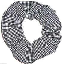 Black White Gingham Tiny Check Fabric Hair Scrunchie Scrunchies by Sherry - $6.99