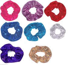 8 Metallic Spandex Hair  Scrunchies by Sherry Pink Purple Red Gold Silve... - $54.95