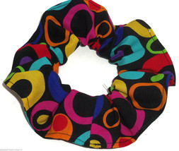 Rainbow Circles Hair Scrunchie Scrunchies by Sherry Ponytail Holder Black Cotton - $6.99