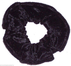 Black Panne Velvet Hair Scrunchie Scrunchies by Sherry Ponytail Holder Tie - $6.99