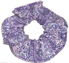 Purple Paisley Hair Scrunchie Scrunchies by Sherry Ponytail Holder Cotton Fabric - $6.99