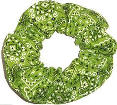 Lime Green Bandana Hair Scrunchie Scrunchies by Sherry Ponytail Holder Cotton - $6.99