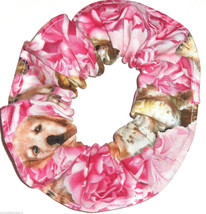 Dogs Puppies on Pink Fabric Hair Scrunchie Scrunchies by Sherry Ponytail Holders - $6.99