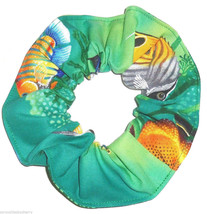 Tropical Fish Green Hair Scrunchie Scrunchies by Sherry Ponytail Holder Cotton - $6.99