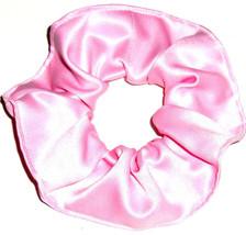 Pink Satin Hair Scrunchie Scrunchies by Sherry Ponytail Holder Tie - $6.99