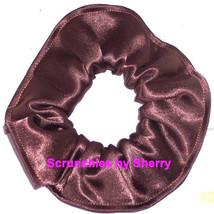 Brown Satin Hair Scrunchie Scrunchies by Sherry Ponytail Holder Tie - $6.99