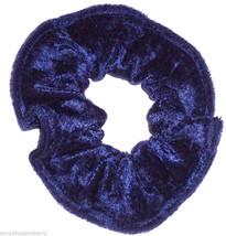 Navy Blue Panne Velvet Hair Scrunchie Scrunchies by Sherry Ponytail Holder Tie - $6.99