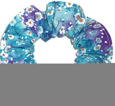 Floral Hair Scrunchie Flowers Purple Blue Fabric Scrunchies by Sherry - $6.99