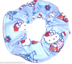 Hello Kitty Blue Flannel Fabric Hair Scrunchie Scrunchies by Sherry Ponytail Tie - $6.99