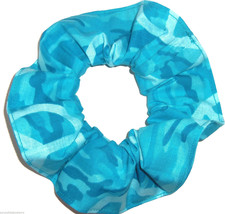 Teal Blue Peace Signs Camo Hair Scrunchie Scrunchies by Sherry Ponytail Holder - $6.99