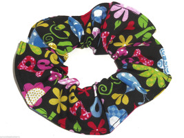 Love Peace Sign Floral Hair Scrunchie Scrunchies by Sherry Ponytail Holder - $6.99