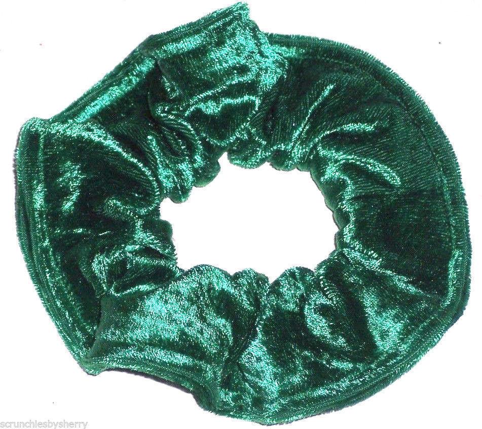 Green Panne Hair Scrunchie Scrunchies by Sherry Ponytail Holder Tie - $6.99