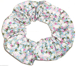 Floral Hair Scrunchie Roses Blue Pink Fabric Scrunchies by Sherry - $6.99