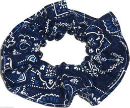 Blue on Navy  Bandana Hair Scrunchie Scrunchies by Sherry Ponytail Holder - $6.99