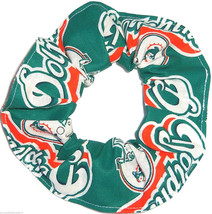 Miami Dolphins Teal Fabric Hair Scrunchie Scrunchies by Sherry NFL Ponytail - $6.99