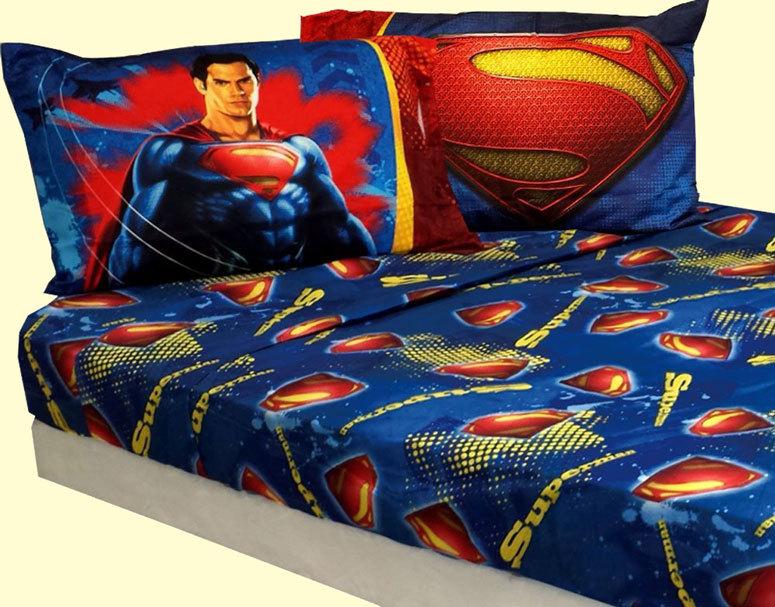 Superman man of steel 4 piece twin single size comforter sheet set