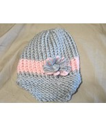 Handmade Knitted Pink Gray Billed Infant Winter Hat Cap CUTE - $9.90
