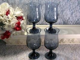 Vintage Pfaltzgraff Yorktowne Blue Dinnerware Stemmed Water Wine Glass S... - $39.99