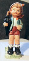 "Vintage Dee Bee 9"" Imitation Hummel Figure Made In Japan Boy With Umbrella - $6.00"