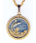 Bahamas 50 cent Silver coin pendant & 14k necklace - $164.00