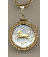 "India 1 pice ""Horse"" (nickel size) coin pendant & 14k necklace - $94.00"
