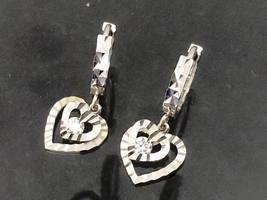Vintage 18K 750 Solid White Gold White Topaz Heart Earrings - $235.00