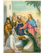 Catholic Print Picture ST. MARTHA Lazarus Jesus Miracle - ready to be fr... - $14.01