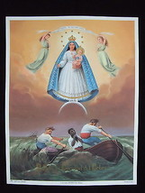 "Catholic Print Picture LARGE Caridad del Cobre MARY OL Charity 13x17"" from Italy - $21.49"