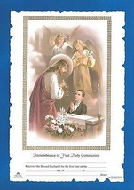 FIRST HOLY COMMUNION Certificate Jesus with BOY & angels Catholic pictur... - $12.19