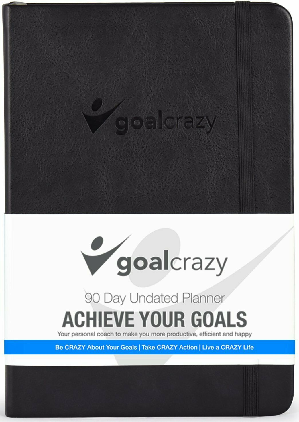 Goal Crazy 2019 Planner - 90 Day Productivity Journal, Black Leather, Undated