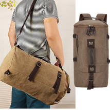 Men's Vintage Canvas Leather Hiking Travel Cylinder Messenger Tote Bag B... - $26.50