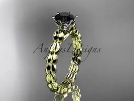 14k yellow gold diamond  engagement ring with Black Diamond center stone ADLR35 - $929.00