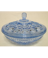 Blue Glass Lidded Candy Dish Intricate Design - $66.82