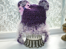 NEWBORN BABY GIRL PURPLE AND PINK TEDDY BEAR PHOTO PROP HAT - $16.00