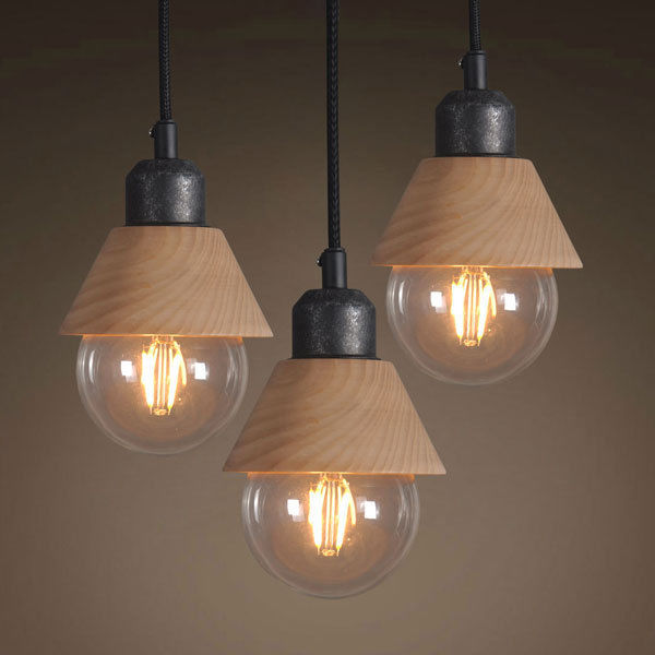 Fancy Kitchen Ceiling Lights: Industrial Mini Wood Iron Pendant Light Hanging Lamp