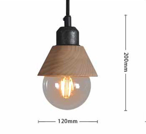 Industrial Mini Wood Iron Pendant Light Hanging Lamp